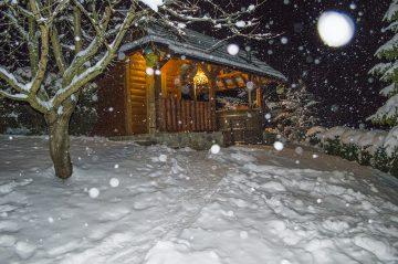 Sauna, nočná atmosféra sneženie