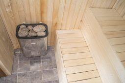 Fínska sauna z vnutra, pec