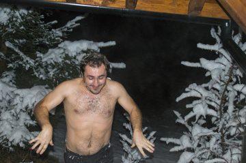 Sauna, atomosféra v zime, otužovanie